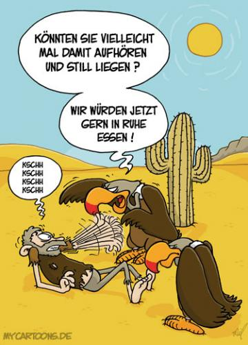 Cartoon: Geier-Manieren (medium) by mil tagged geier,fressen,essen,rücksicht,mil