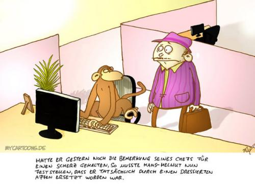 Cartoon: Hans-Helmut wird ersetzt (medium) by mil tagged cartoon,hans,helmut,job,arbeit,mil
