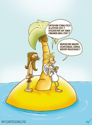 Cartoon: Insel Engel (medium) by mil tagged cartoon,engel,insel,mil