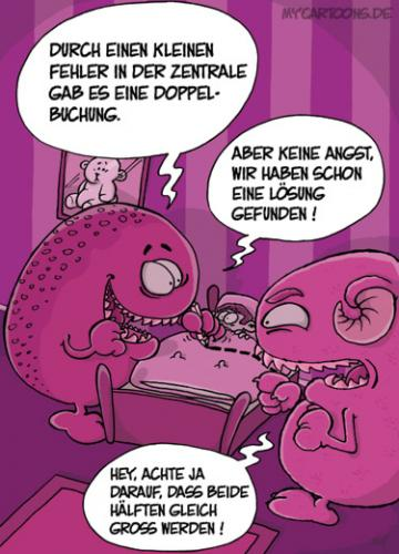 Cartoon: Monster Doppel (medium) by mil tagged monster,kind,bett,problem,lösung,teilen,mil