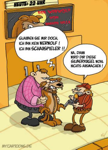 Cartoon: Werwolf-Test (medium) by mil tagged werwolf,schauspieler,kugel,film,mil,