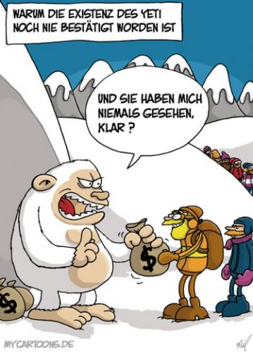 Cartoon: Yeti (medium) by mil tagged yeti,existenz,geheimnis,schnee,mil,