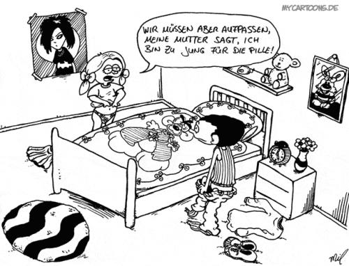 Cartoon: Zu jung (medium) by mil tagged junge,mädchen,pille,jung,mil