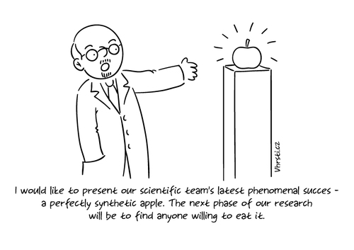 Cartoon: Synthetic Apple (medium) by Vhrsti tagged succes,science,scientist,apple,synthetic,food,fruit,chemistry