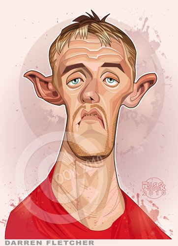 Cartoon: Darren Fletcher (medium) by Russ Cook tagged darren,fletcher,manchester,united,russ,cook,computer,art,soccer,football,scotland,scottish,mid,field,midfielder,caricature,vector,illustration,cartoons,digital,caricatures