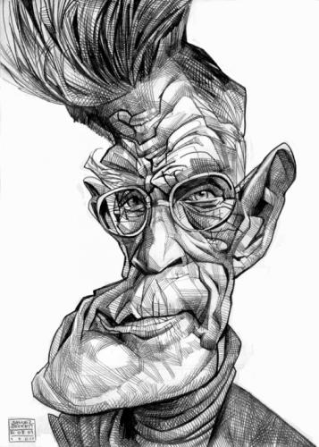 Cartoon: Samuel Beckett (medium) by Russ Cook tagged sketch,pencil,portrait,cook,russ,caricature,zeichnung,karikaturen,karikatur,ireland,irish,writer,poet,beckett,samuel