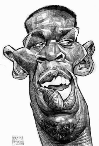 Cartoon: Usain Bolt (medium) by Russ Cook tagged sprint,run,sprinter,race,runner,meters,metres,100,winner,champion,olympic,athletics,athletic,athlete,hundred,jamaican,jamaica,bolt,usain,cartoon,caricatures,caricature