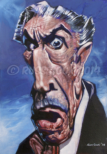 Cartoon: Vincent Price (medium) by Russ Cook tagged blood,theatre,scissorhands,edward,wax,usher,of,house,film,thriller,jackson,michael,mash,monster,macabre,horror,paint,acrylic,cook,russ,caricature,painting,price,vincent