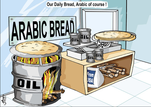 Cartoon: ARABIC BREAD ..of cource! (medium) by samir alramahi tagged bread,loaf,baking,wheat,food,arab,syria,rome,barns,usa,aid,ramahi,cartoon