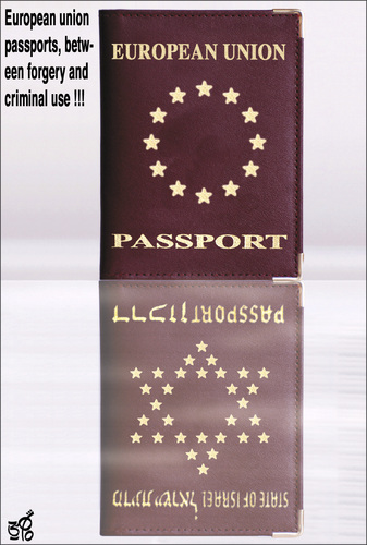 Cartoon: European Union passports2 (medium) by samir alramahi tagged european,union,passports,forgery,criminal,eu,europe,uae,arab,ramahi,cartoon