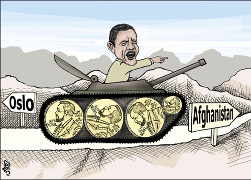 Cartoon: From Oslo to Afghanistan ..! (medium) by samir alramahi tagged oslo,afghanistan,usa,nobel,prize,obama,ramahi