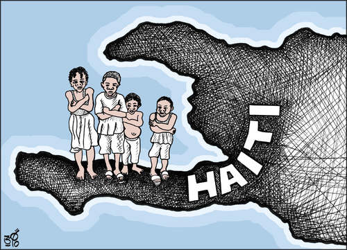 Cartoon: HAITI (medium) by samir alramahi tagged haiti,earthquake,map,ramahi,cartoon,children,nature