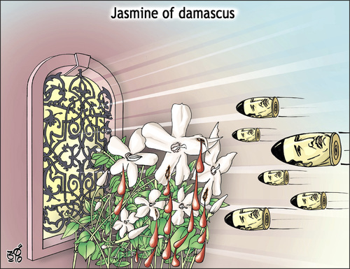 Cartoon: Jasmine of damascus (medium) by samir alramahi tagged jasmine,cartoon,ramahi,revelution,assad,syria,arab,bashar,asad,damascus