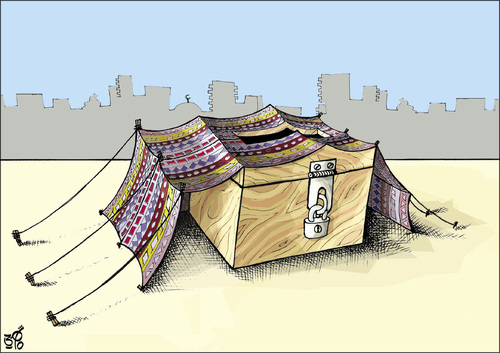 Cartoon: Jordanian elections tent (medium) by samir alramahi tagged jordan,parliamentary,elections,ramahi,cartoon,arab,tent