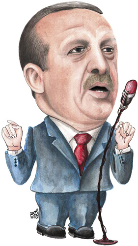 Cartoon: Tayyip Erdogan (medium) by samir alramahi tagged tayyip,erdogan,ramahi,cartoon,politic,portrait