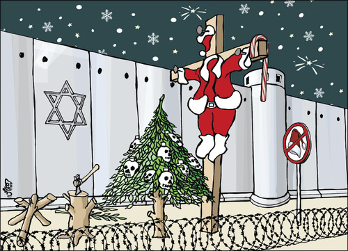 Cartoon: X-mas in holly land (medium) by samir alramahi tagged peace,palestine,israel,ramah,cartooni,politics,christmas