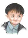 Cartoon: A child with smart eyes (small) by samir alramahi tagged child,smart,eyes,arab,ramahi,cartoon,zayed,portrait