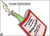 Cartoon: Invading Switzerland (small) by samir alramahi tagged arab,libia,qaddafi,politics,invading,switzerland