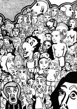 Cartoon: 150 leute (medium) by bona tagged men,man,women,woman,people,faces,typen,caracters