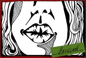 Cartoon: Busserl (medium) by bona tagged busserl,kuss,mund,kiss,mouth,face,green,black,white