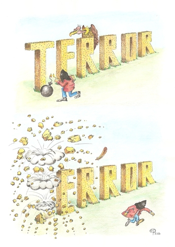 Cartoon: Terror - Error (medium) by Erwin Pischel tagged pischel,buchstaben,geier,blasts,explosionen,terrorismus,bomben,terrorszene,dschihad,gotteskrieger,terroranschlag,angriff,attentate,quaida,al,kaida,el,deutschland,in,terrorangst