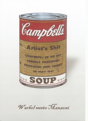 Cartoon: Warhol meets Manzoni (medium) by Erwin Pischel tagged pischel,art,appropriation,kot,fäkalien,shit,artists,soup,campbells,tin,dose,suppendose,manzoni,warhol