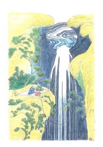 Cartoon: Waterfall-TV (medium) by Erwin Pischel tagged hokusai,wasserfall,waterfall,fernsehen,tv,regenerative,energie,pischel