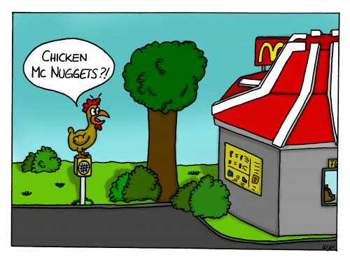 Cartoon: Chicken Mc Nuggets (medium) by spass-beiseite tagged spass,beiseite,cartoon,cartoons,comic,tagebuch,comictagebuch,comicstrips,kunst,pointe,witz,bildwitz,unterhaltung,panel,fun,illustration,design,chicken,mc,nuggets,donalds