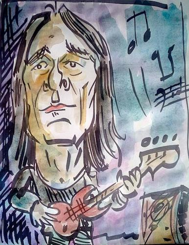 Cartoon: dado topic (medium) by kolle tagged dado,topic,bass,guitar,player,in,group,band,time