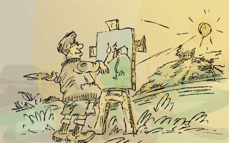 Cartoon: painter (medium) by kolle tagged painter,canvas,brush