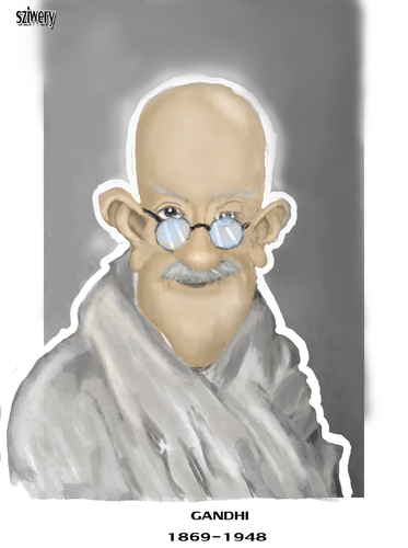 Cartoon: gandhi (medium) by sziwery tagged gandhi