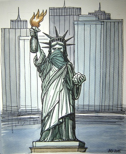 Cartoon: American freedom (medium) by caknuta-chajanka tagged statue,of,liberty,human,rights