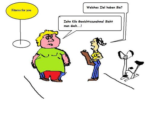 Cartoon: Fitnesscenter (medium) by tristanactor tagged fitness,fitnesscenter,fragen,dumme