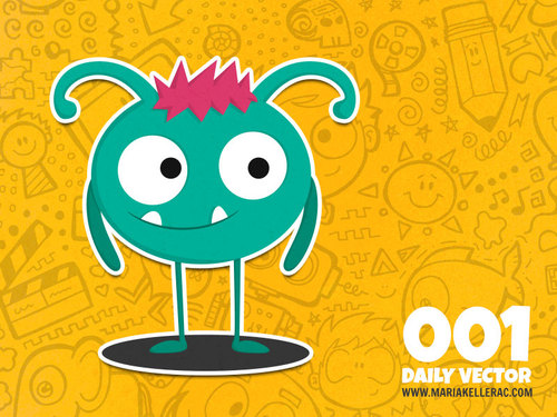 Cartoon: Daily Vector 001 (medium) by kellerac tagged daily,vector,cartoon,monster,cute,blue,simple