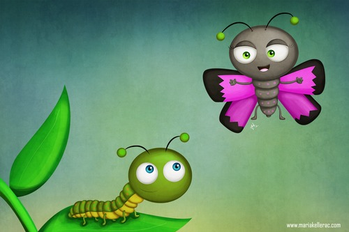 Cartoon: Time to change (medium) by kellerac tagged tranformation,change,caterpillar,butterfly,caricatura,cartoon