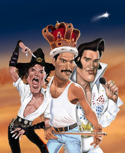 Cartoon: Heilige drei Könige. (medium) by Ausgezeichnet tagged michael,jackson,freddie,mercury,elvis,king,of,pop,rock,music,caricature,karikatur