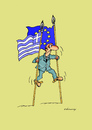 Cartoon: Greece stilts (small) by Dubovsky Alexander tagged krisis,greece,stilts,flag,protest
