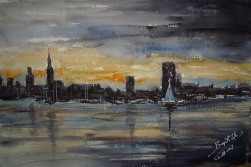 Cartoon: skyline from Antwerp (medium) by cabap tagged watercolor