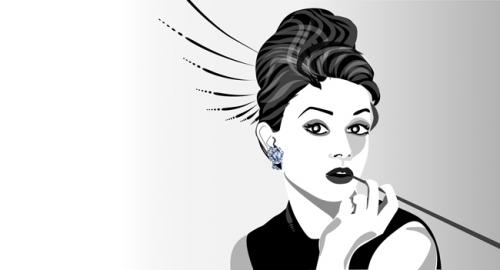 Cartoon: audrey (medium) by tschidi tagged audrey,hepburn,black,and,white,woman,face,sophisticated,sexy