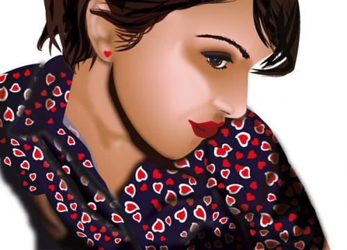 Cartoon: BigSis (medium) by tschidi tagged woman,heart,shy,lips,face