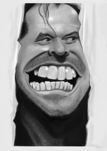 Cartoon: Jack Nicholson (medium) by PlainYogurt tagged shining,jack,nicholson,caricature
