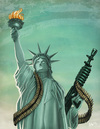Cartoon: Lady Liberty (small) by Hellder Gonzales tagged statue,of,liberty,freedom,color,war,eua