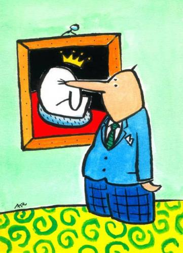 Cartoon: Nase (medium) by ari tagged man,nose,painting,king,