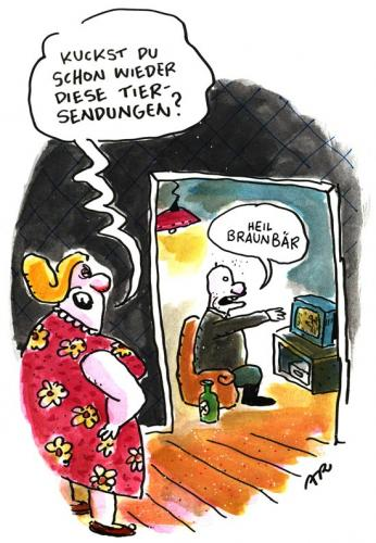 Cartoon: Tiersendungen (medium) by ari tagged nazi,junk,tv,npd,tier,braun,programm