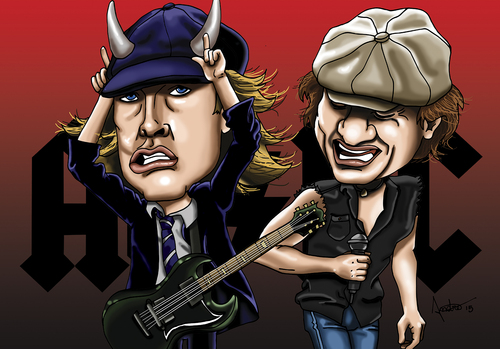 Cartoon: ac dc (medium) by mitosdorock tagged ac,dc,rock
