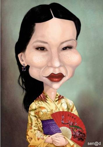 Cartoon: Lucy Liu (medium) by Senad tagged lucy,liu,senad,nadarevic,bosnia,bosna,karikatura