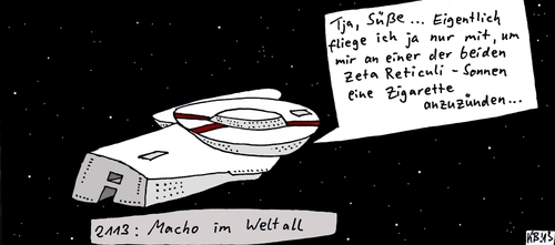 Cartoon: 2113 (medium) by Leichnam tagged 2113,weltall,süße,zigarette,zeta,reticuli
