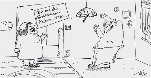 Cartoon: genervt (medium) by Leichnam tagged genervt,kalauer,tick,lampenfieber