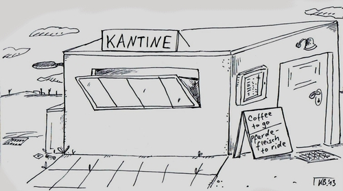 Cartoon: Kantine (medium) by Leichnam tagged reiten,pferd,fleisch,go,to,coffee,kantine