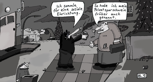 Cartoon: Klingelbüchse (medium) by Leichnam tagged sozial,sparschwein,klingelbüchse,geld,sammlung,weihnachten,rührselig